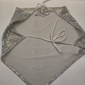 Gold sparkly triangle crop top